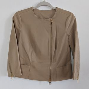 Tory Burch tan leather jacket size 2